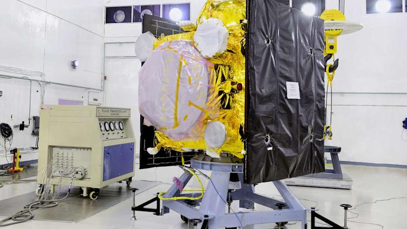 IRNSS-1E await propellant-filling in a clean room at ISRO's Sriharikota facility. Image courtesy: ISRO