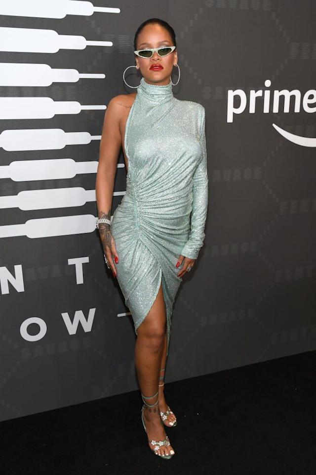 <p>The multi-hyphenate wore an asymmetric dress for the Amazon-filmed Savage X Fenty SS20 show during NYFW.</p>