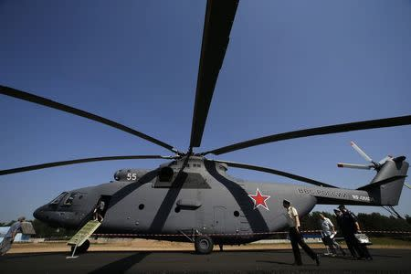 """A MI-26 helicopter is on display during the event titled the """"Innovations Day"""" organized by Russia's Western military command at Levashovo airbase outside St. Petersburg, June 6, 2014. REUTERS/Alexander Demianchuk"""