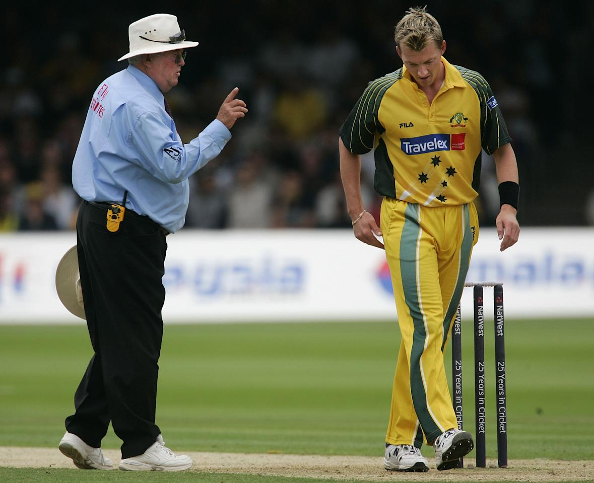 LONDON - JULY 02:  Brett Lee of Australia is warned by umpire David Shepherd after bowling a high full toss to Marcus Trescothick of Englad during the NatWest Series Final between England and Australia played at Lord's Cricket Ground on July 2, 2005 in London, United Kingdom.  (Photo by Hamish Blair/Getty Images)