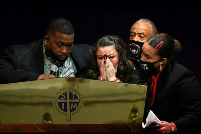 Katie Wright (C) at the funeral of her son, Daunte Wright, in Minneapolis, Minnesota