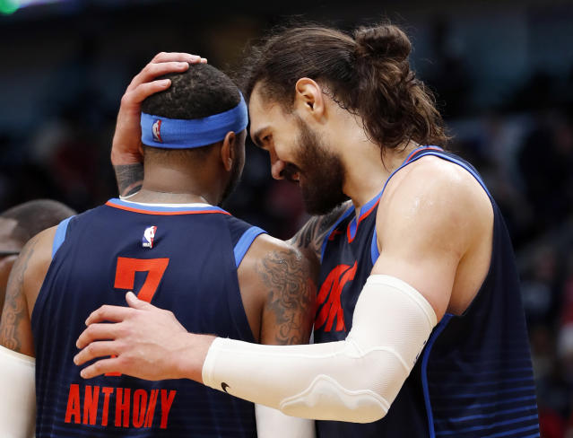 Steven Adams liked an Instagram opinion on Carmelo Anthony he probably shouldn't have before providing an excuse to Thunder staff. (AP)