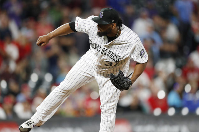 Colorado Rockies relief pitcher Jairo Diaz works against the St. Louis Cardinals during the ninth inning of a baseball game Wednesday, Sept. 11, 2019, in Denver. Colorado won 2-1. (AP Photo/David Zalubowski)
