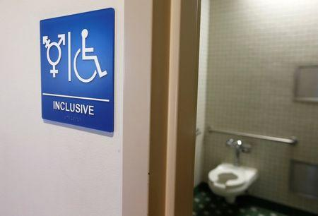 A gender-neutral bathroom is seen at the University of California, Irvine in Irvine, California September 30, 2014.   REUTERS/Lucy Nicholson/File Photo