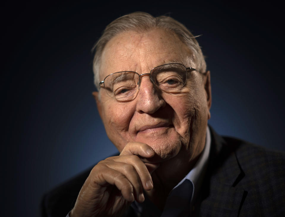 Former Vice President Walter F. Mondale, photographed at his Mill District condo on Tuesday afternoon, April 30, 2019 in Minneapolis. (Jeff Wheeler/Star Tribune via Getty Images)