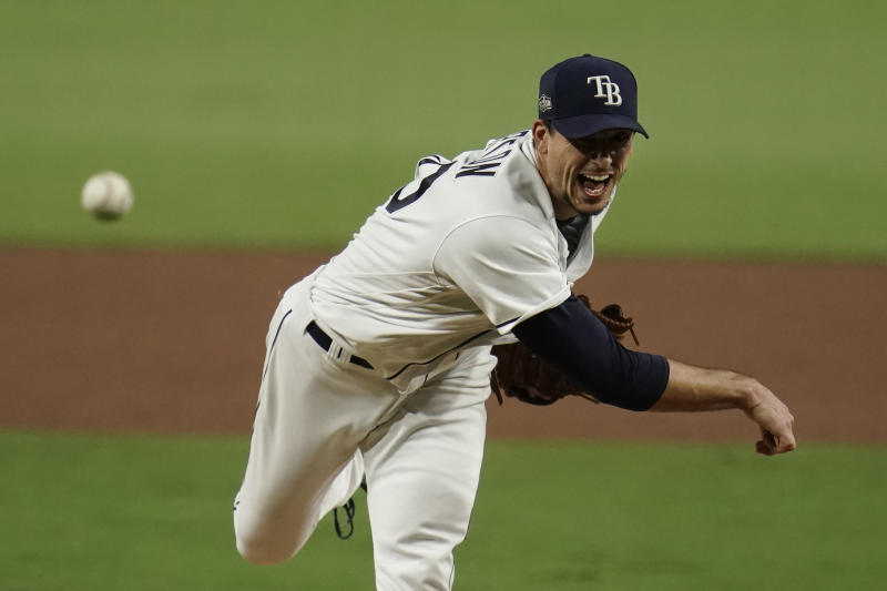 Tampa Bay Rays starting pitcher Charlie Morton throws against the Houston Astros during the sixth inning in Game 7 of a baseball American League Championship Series, Saturday, Oct. 17, 2020, in San Diego. (AP Photo/Gregory Bull)