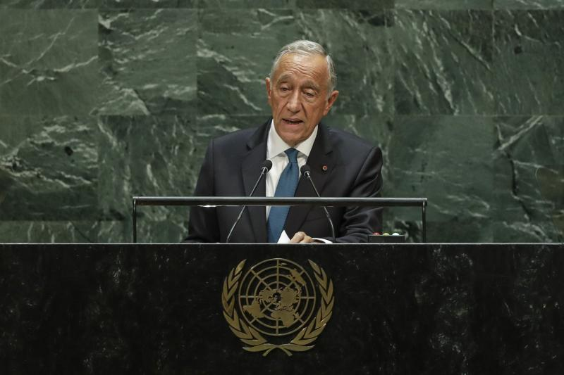 Portugal's President Marcelo Rebelo de Sousa addresses the 74th session of the United Nations General Assembly, Tuesday, Sept. 24, 2019, at the United Nations headquarters. (AP Photo/Frank Franklin II)