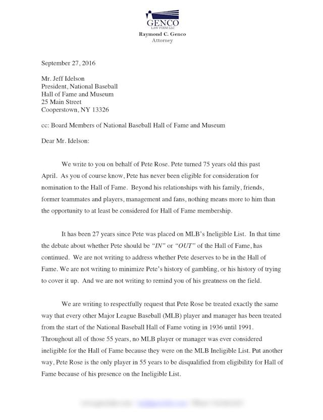 Pete Rose's letter from his attorneys. (Special to Yahoo Sports)