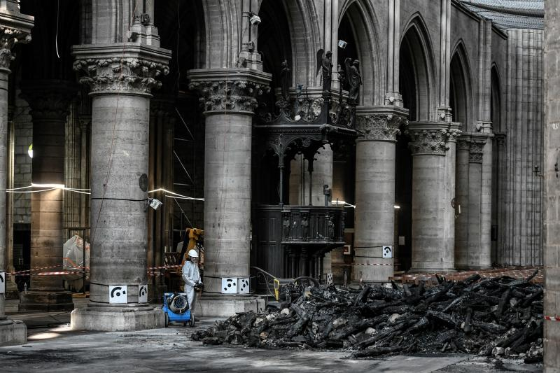 Workers are pictured during preliminary work at the Notre Dame Cathedral July 17, 2019 in Paris. (Photo: Stephane de Sakutin/Pool via AP)