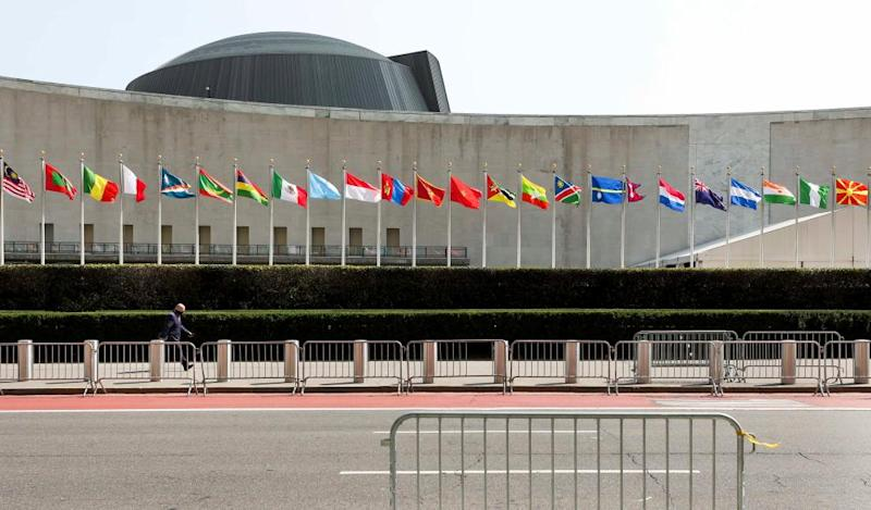 Flags outside of the general assembly hall at UN headquarters in New York.