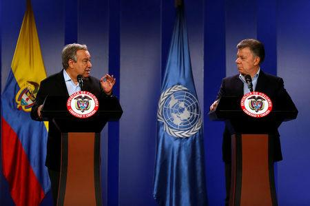 U.N. Secretary General Antonio Guterres gestures during a joint news conference with Colombia's President Juan Manuel Santos in Bogota, Colombia January 13, 2018. REUTERS/Jaime Saldarriaga