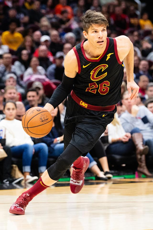 CLEVELAND, OH - NOVEMBER 24: Kyle Korver #26 of the Cleveland Cavaliers drives to the basket during the second half against the Houston Rockets at Quicken Loans Arena on November 24, 2018 in Cleveland, Ohio. The Cavaliers defeated the Rockets 117-108. (Photo by Jason Miller/Getty Images)