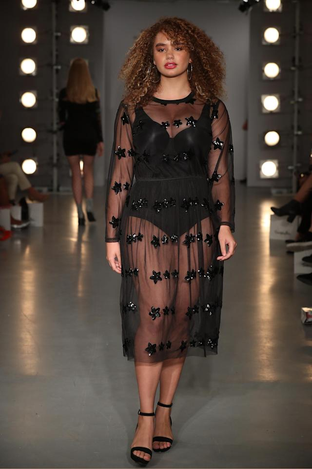 <p>A sheer dress with sequined stars for Sonny Turner. </p>