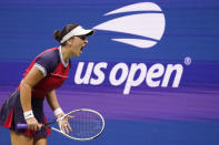 Bianca Andreescu, of Canada, reacts during her match against Maria Sakkari, of Greece, during the fourth round of the US Open tennis championships, Tuesday, Sept. 7, 2021, in New York. (AP Photo/John Minchillo)