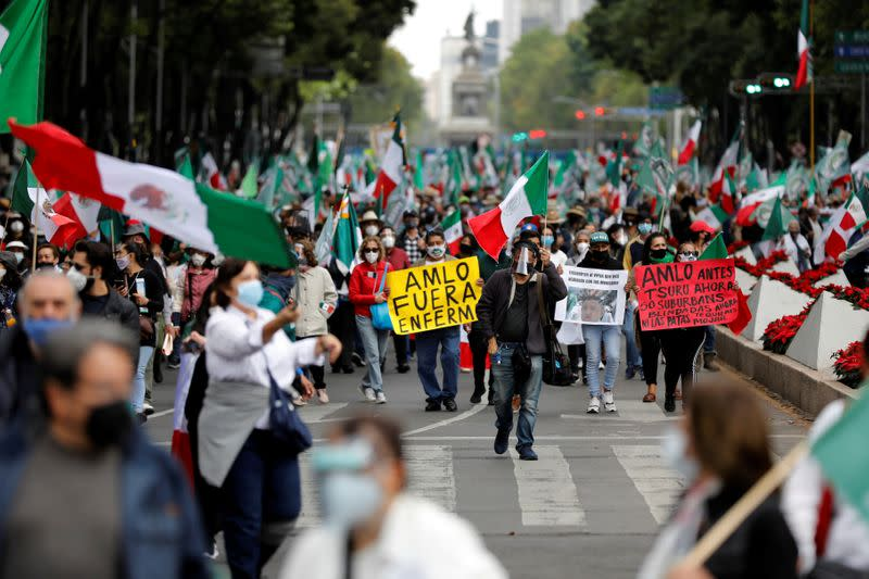 FILE PHOTO: Protest against Mexican President Andres Manuel Lopez Obrador (AMLO), in Mexico City