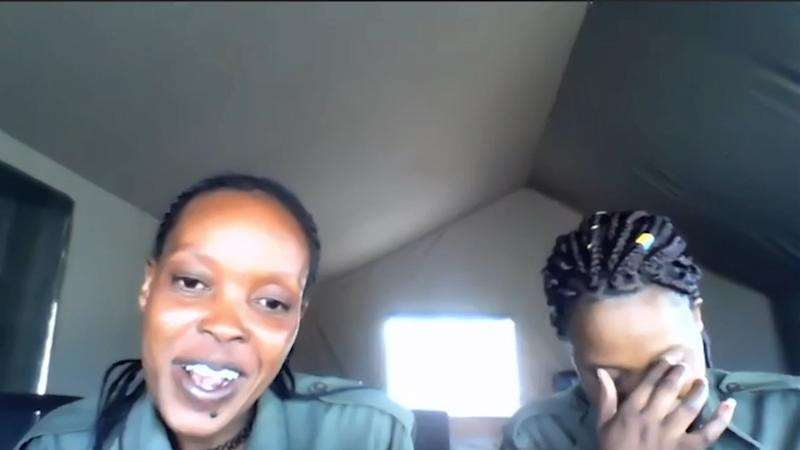 Screenshot of Beatrice Sailepu and Eunice Mantei speaking via video link.