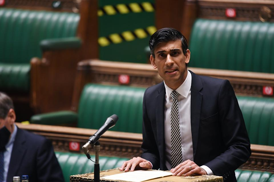 Britain's Chancellor of the Exchequer Rishi Sunak speaks at the House of Commons in London, Britain January 11, 2021. UK Parliament/Jessica Taylor/Handout via REUTERS THIS IMAGE HAS BEEN SUPPLIED BY A THIRD PARTY. MANDATORY CREDIT