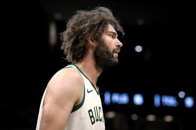 """<a class=""""link rapid-noclick-resp"""" href=""""/nba/players/4477/"""" data-ylk=""""slk:Robin Lopez"""">Robin Lopez</a> is part of a federal investigation after the Disney mega fan purchased stolen clothing. (Dylan Buell/Getty Images)"""