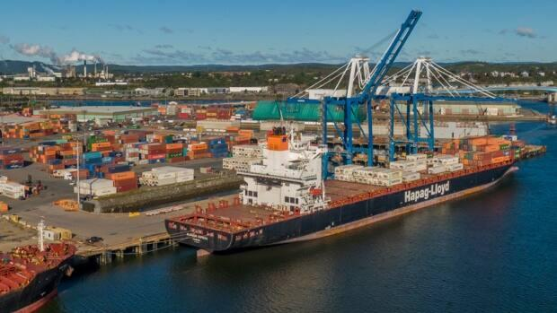 Port Saint John has a new international shipping line through an agreement between Canadian Pacific Railway and the German international shipping company, Hapag Lloyd. The first vessel, the Liverpool Express, arrived from the Mediterranean on May 27. (Port Saint John - image credit)