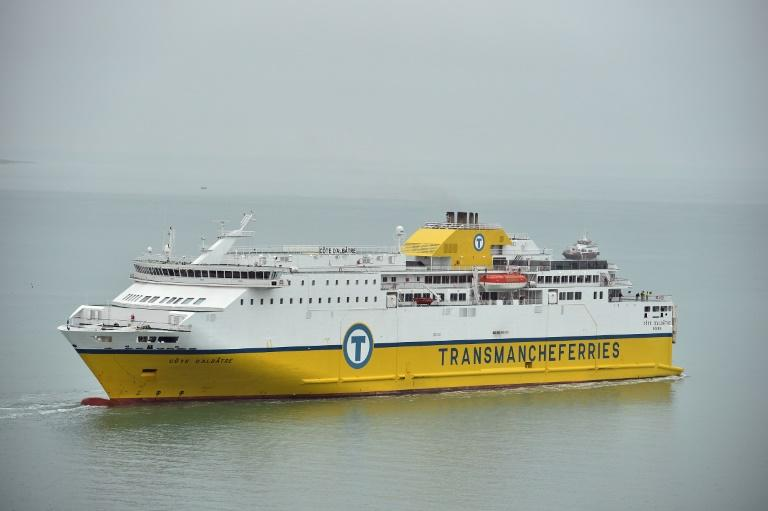 The Newhaven-Dieppe ferry reverses out from the port in Newhaven, southern England