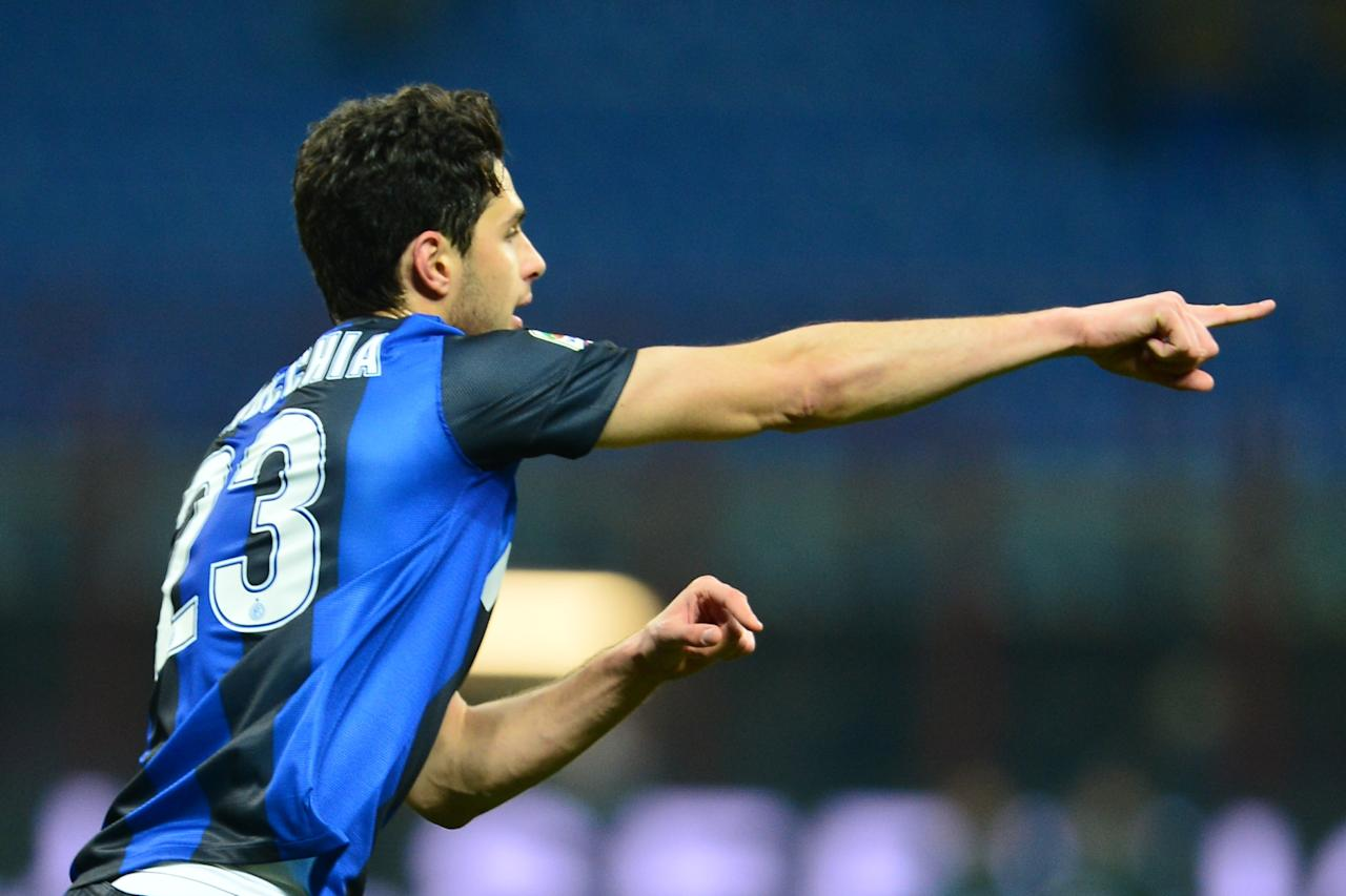 Inter Milan's defender Andrea Ranocchia celebrates after scoring a goal during an Italian Serie A football match between Inter Milan and Chievo at San Siro Stadium in Milan on February 10, 2013. AFP PHOTO / GIUSEPPE CACACEGIUSEPPE CACACE/AFP/Getty Images