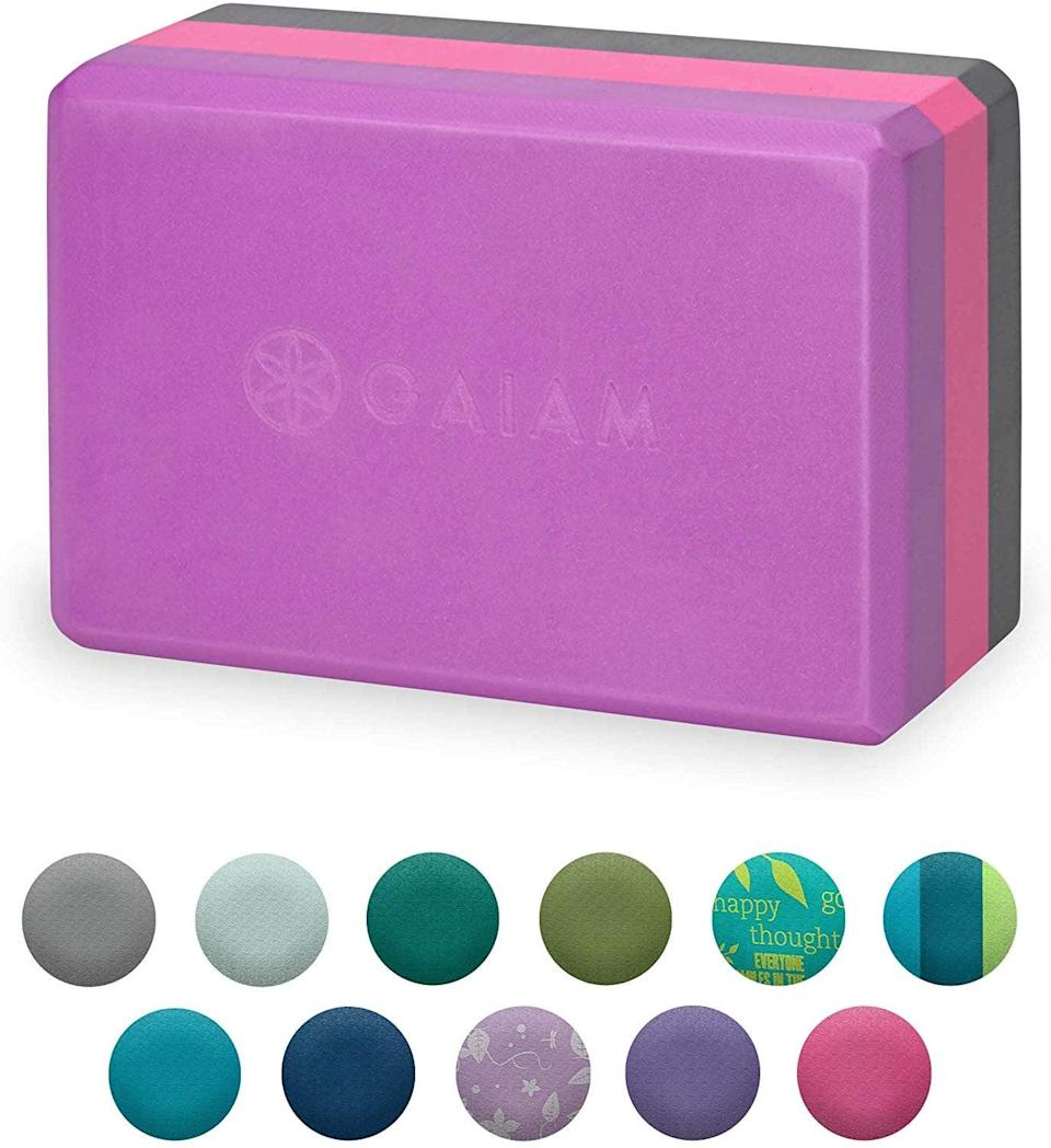 """<p>Help find your balance with these <a href=""""https://www.popsugar.com/buy/Gaiam-Yoga-Block-557538?p_name=Gaiam%20Yoga%20Block&retailer=amazon.com&pid=557538&price=9&evar1=fit%3Aus&evar9=46418649&evar98=https%3A%2F%2Fwww.popsugar.com%2Fphoto-gallery%2F46418649%2Fimage%2F46418654%2FGaiam-Yoga-Block&list1=shopping%2Cfitness%20gear%2Chome%20workouts%2Cfitness%20shopping&prop13=api&pdata=1"""" class=""""link rapid-noclick-resp"""" rel=""""nofollow noopener"""" target=""""_blank"""" data-ylk=""""slk:Gaiam Yoga Block"""">Gaiam Yoga Block</a> ($9).</p>"""