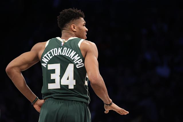 Giannis Antetokounmpo has been the best player on both ends of the floor this NBA season. (Al Bello/Getty Images)