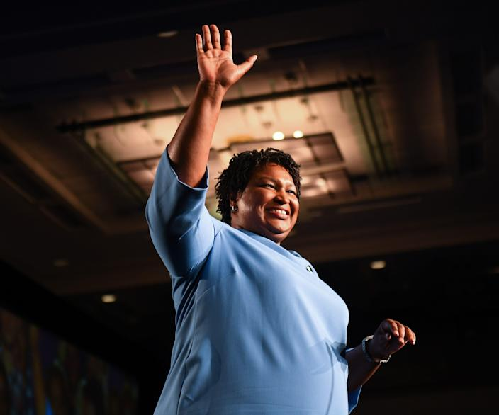 Democratic Georgia gubernatorial candidate Stacey Abrams addresses the crowd in the early morning hours on Nov. 7, 2018, in downtown Atlanta telling supporters votes still needed to be counted.