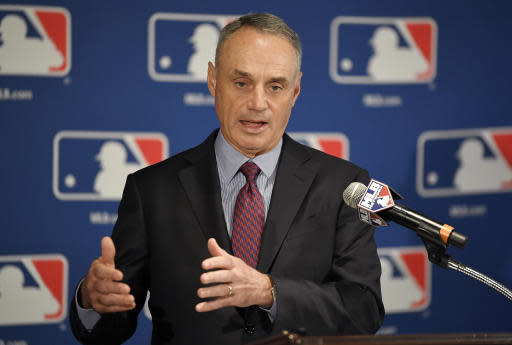 Major League Baseball commissioner Rob Manfred speaks during a news conference at the baseball owners meetings in the Four Seasons Hotel, Thursday, Feb. 1, 2018, in Los Angeles. (AP)