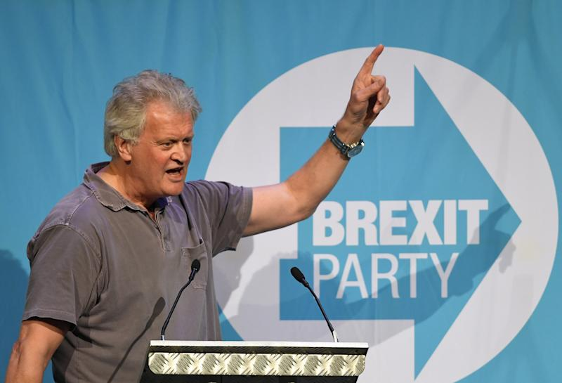 JD Wetherspoon chairman Tim Martin during a Brexit Party rally in Peterborough King's Gate Conference Centre as part of their European Parliament election campaign.
