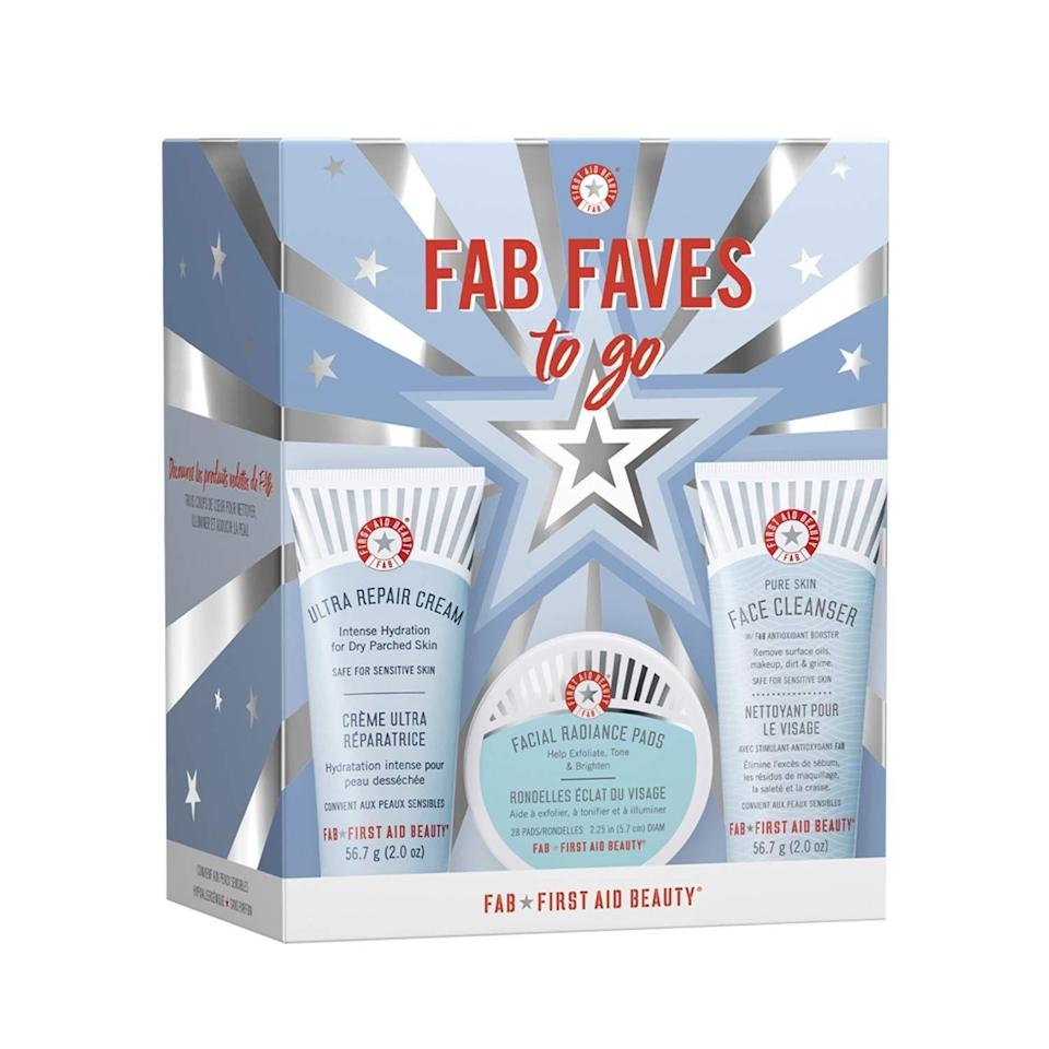 """Consider First Aid Beauty's FAB Faves to Go Kit a skin-care starter pack. Ideal for the person who hasn't fully settled into a routine just yet, this set has just the right mix for cleansing, brightening, and moisturizing essentials. In the kit are travel sizes of three fan-favorites: the Pure Skin Face Cleanser, which features soothing <a href=""""https://www.allure.com/story/aloe-vera-benefits-skin-hair?mbid=synd_yahoo_rss"""" rel=""""nofollow noopener"""" target=""""_blank"""" data-ylk=""""slk:aloe"""" class=""""link rapid-noclick-resp"""">aloe</a> and <a href=""""https://www.allure.com/story/what-is-allantoin-skin-care-ingredient-korean-beauty?mbid=synd_yahoo_rss"""" rel=""""nofollow noopener"""" target=""""_blank"""" data-ylk=""""slk:allantoin"""" class=""""link rapid-noclick-resp"""">allantoin</a>, <a href=""""https://www.allure.com/gallery/what-you-didnt-know-about-lactic-salicylic-citric-glycolic-acid-creams?mbid=synd_yahoo_rss"""" rel=""""nofollow noopener"""" target=""""_blank"""" data-ylk=""""slk:glycolic and lactic acid"""" class=""""link rapid-noclick-resp"""">glycolic and lactic acid</a>-laced exfoliating Facial Radiance Pads, and the colloidal oatmeal-enriched Ultra Repair Cream to moisturize dry, flaky skin."""