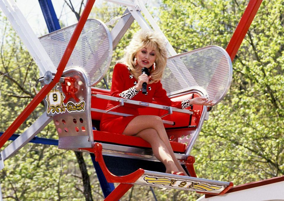<p>Parton heads to Pigeon Forge, TN to celebrate the 8th grand opening of Dollywood, her theme park. </p>