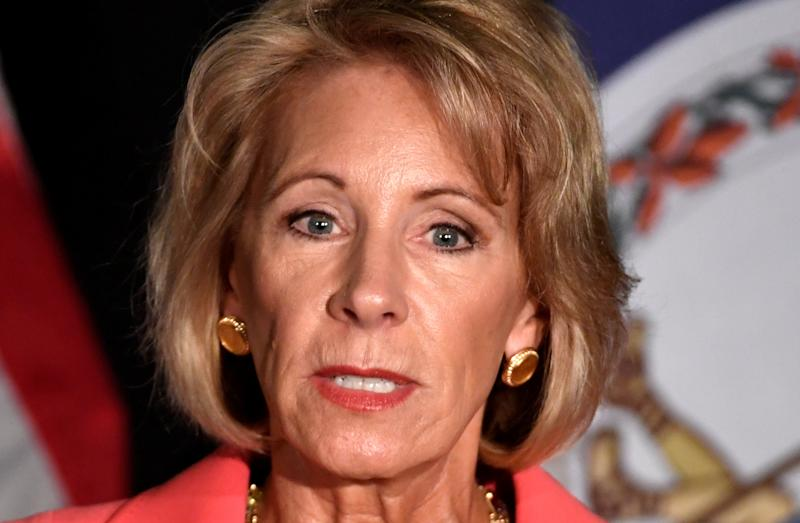 "Education Secretary Betsy DeVos said the process for addressing college sexual assault must be ""fair and impartial."" (Mike Theiler / Reuters)"