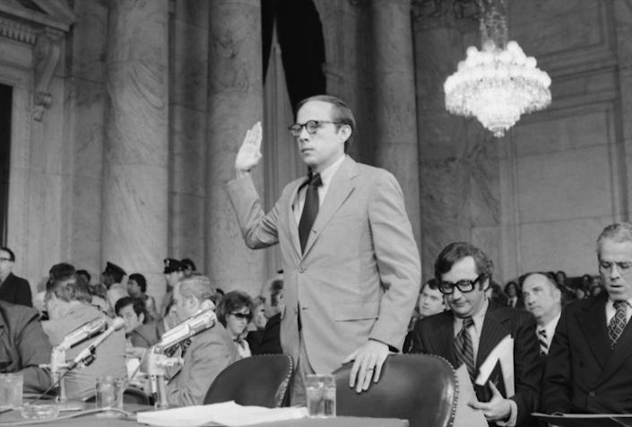 John W. Dean III is sworn in before testifying for the second day before the Senate Watergate Committee in Washington, D.C., on June 6, 1973. (Photo: Bettmann Archive via Getty Images)