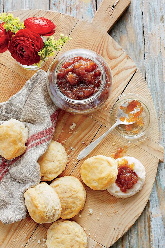 """<p><b>Recipe: <a href=""""https://www.southernliving.com/recipes/apple-butter-recipe"""">Apple Butter</a></b></p> <p>This homemade apple butter recipe couldn't be easier. It makes an adorable hostess or neighbor gift when packaged in a mini mason jar and tied with a bow.</p>"""