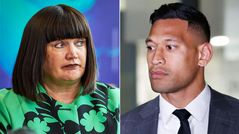 Rugby Australia and chair Raelene Castle, pictured left, have settled their dispute with Israel Folau, right.