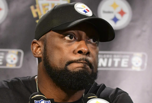 Steelers coach Mike Tomlin couldn't bite his tongue after a controversial roughing call on linebacker T.J. Watt. (AP)