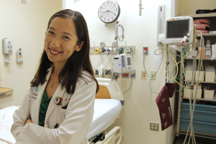 In this Tuesday, Aug. 14, 2012 photo Leana Wen, of Boston, who is doing her medical residency in emergency medicine at Harvard-affiliated Brigham and Women's Hospital and Massachusetts General Hospital. (Steven Senne/AP Photo)