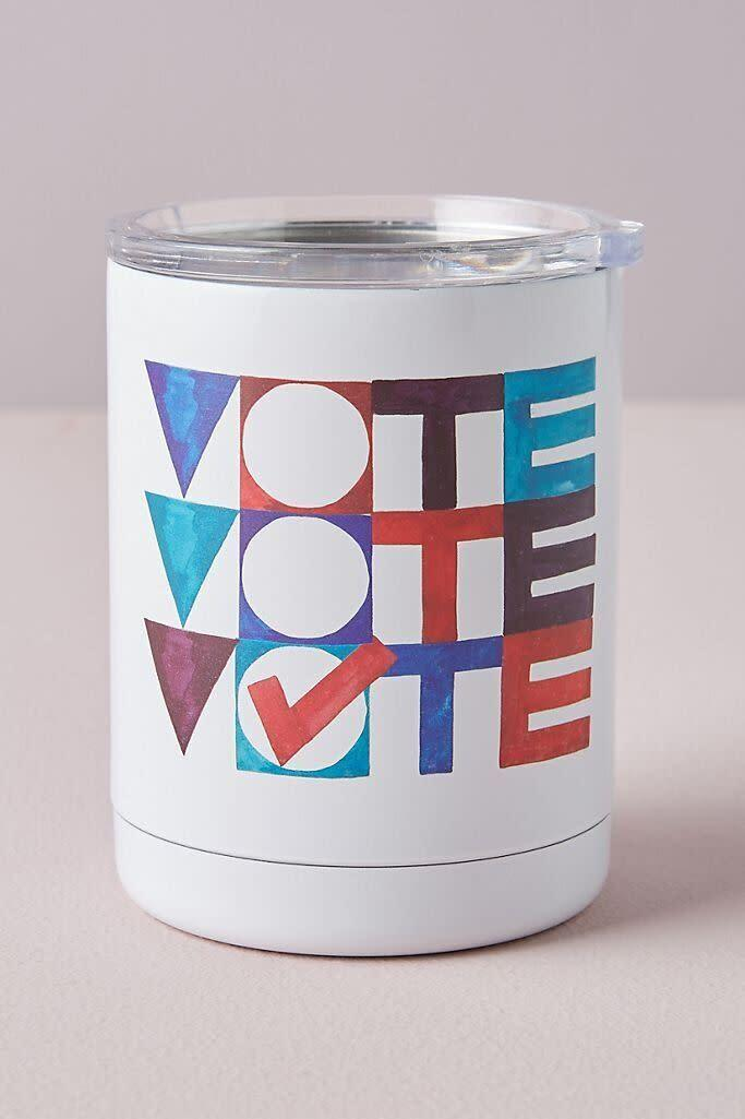 """It might not be microwave-safe, but it does have a message: vote. And it says it three times so you won't forget. <br><br><a href=""""https://fave.co/3ixhAYX"""" rel=""""nofollow noopener"""" target=""""_blank"""" data-ylk=""""slk:Find it for $26 at Anthropologie"""" class=""""link rapid-noclick-resp"""">Find it for $26 at Anthropologie</a>."""