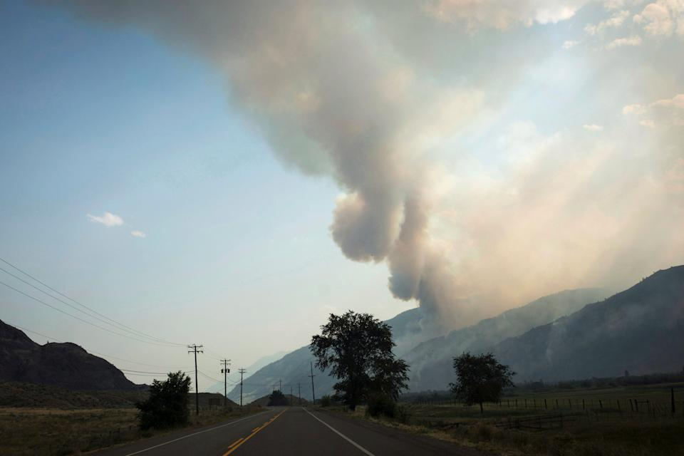 The Snowy Mountain wildfire is visible from Cawston, B.C., on Aug. 2, 2018. (Photo: Melissa Renwick/THE CANADIAN PRESS)