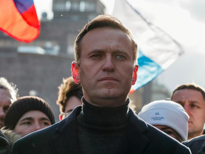 Alexei Navalny showed signs of poisoning when he fell ill on a flight last month, and is now in a coma: Getty