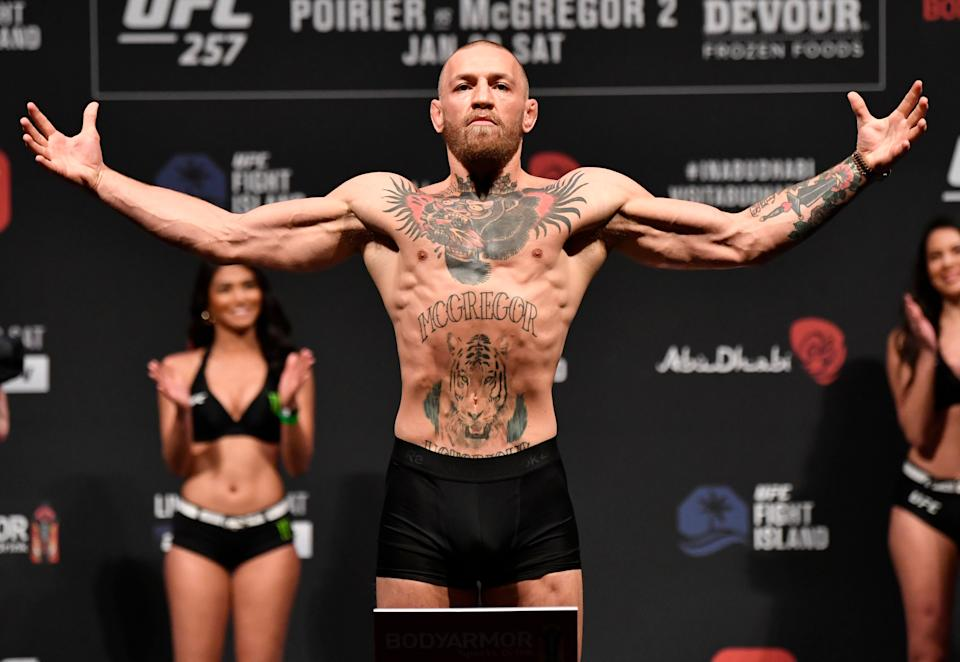 Conor McGregor weighs in ahead of UFC 257 (Zuffa LLC via Getty Images)