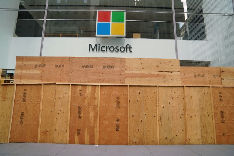 The Microsoft store is pictured in the Manhattan borough of New York City