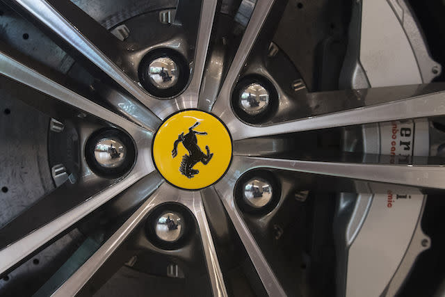Wheel detail of a 2017 GT4C Ferrari Lusso, part of the Ferrari: Under the Skin exhibition at the Design Museum in London.