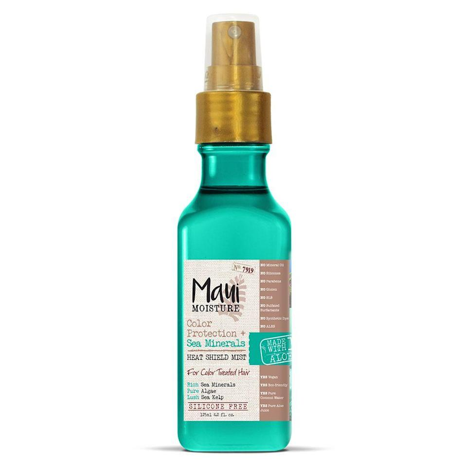 """<p><strong>Maui Moisture</strong></p><p>walmart.com</p><p><strong>$9.73</strong></p><p><a href=""""https://go.redirectingat.com?id=74968X1596630&url=https%3A%2F%2Fwww.walmart.com%2Fip%2F775458927&sref=https%3A%2F%2Fwww.thepioneerwoman.com%2Fbeauty%2Fhair%2Fg34919086%2Fbest-heat-protectant-for-hair%2F"""" rel=""""nofollow noopener"""" target=""""_blank"""" data-ylk=""""slk:Shop Now"""" class=""""link rapid-noclick-resp"""">Shop Now</a></p><p>Ditch both your perfume and your dead ends thanks to this fresh-smelling protecting mist. It's specially formulated for color-treated hair and is free of silicones and parabens.</p>"""