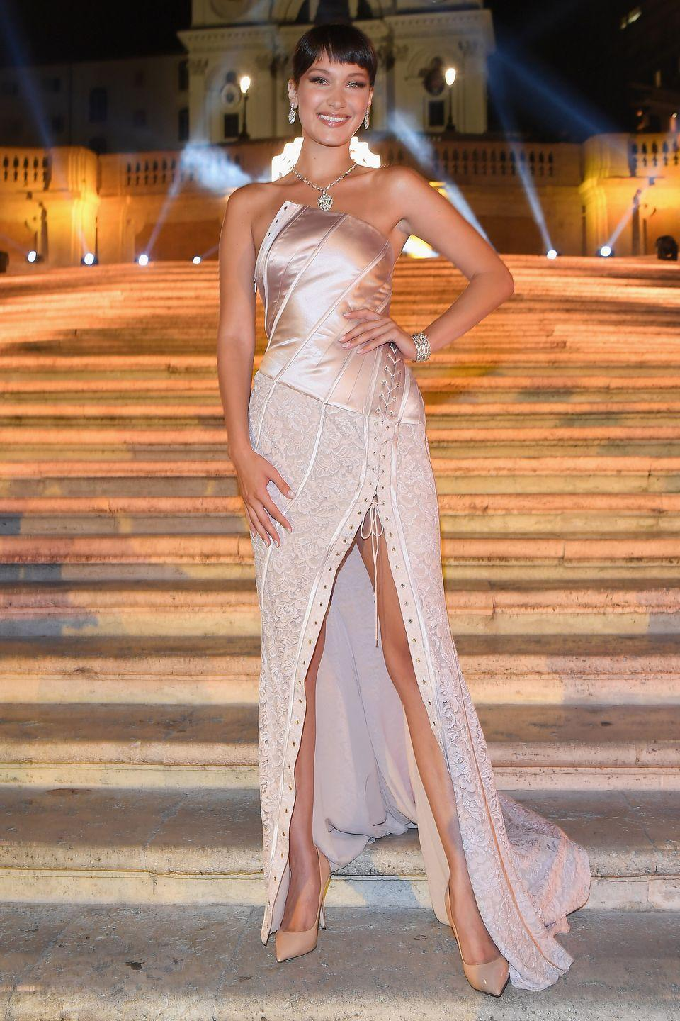 <p>In vintage Galliano, Giuseppe Zanotti Blush Patent Pump and Bulgaria jewels on the Spanish steps in Rome.</p>
