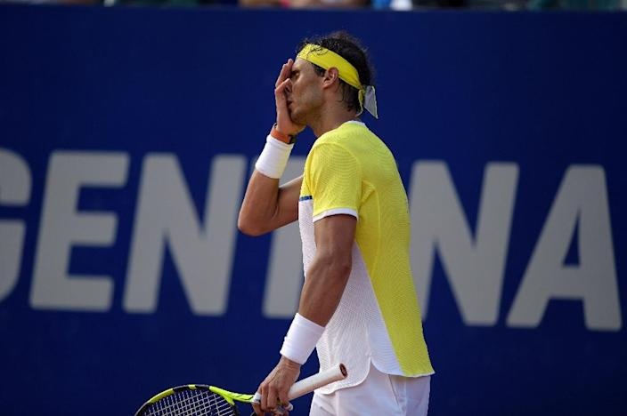Spain's Rafael Nadal reacts after losing a point to Austria's Dominic Thiem during their semi-final match at the ATP Argentina Open in Buenos Aires, on February 13, 2016 (AFP Photo/Eitan Abramovich)