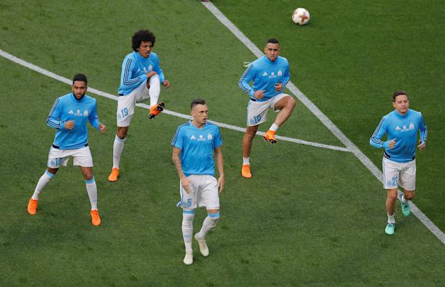 Soccer Football - Europa League Final - Olympique de Marseille vs Atletico Madrid - Groupama Stadium, Lyon, France - May 16, 2018 Marseille players during the warm up before the match REUTERS/Vincent Kessler