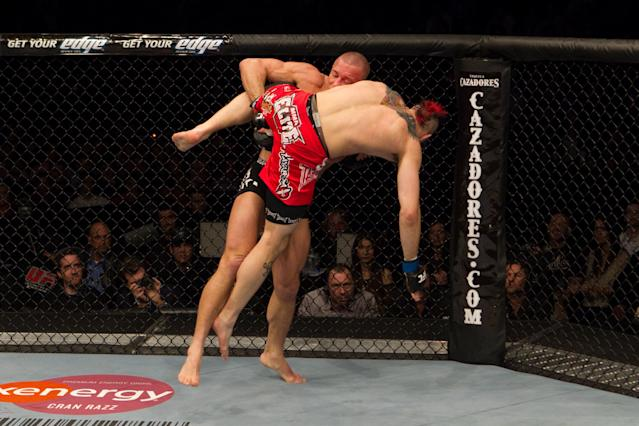 NEWARK, NJ - MARCH 27: Georges St-Pierre (black shorts) def. Dan Hardy (red shorts) - Unanimous decision during UFC 111 at Prudential Center on March 27, 2010 in Newark, New Jersey. (Photo by Josh Hedges/Zuffa LLC via Getty Images)