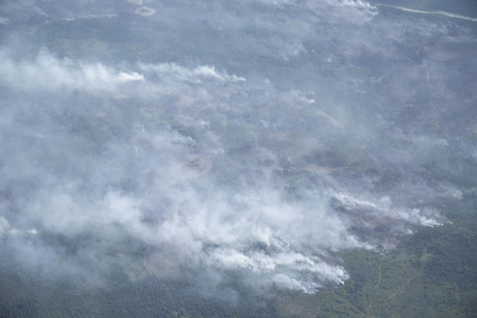 The Greenwood Fire, about 50 miles north of Duluth, Minn., continues to burn, Tuesday, Aug. 17, 2021, as seen from an airplane above the temporary flight restriction zone. (Alex Korman/Star Tribune via AP)